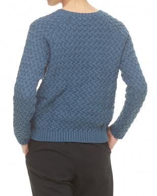ブルーグリーン 綿混バスケット調 編み柄ニットプルオーバー見る