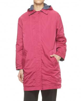 ネイビーブルー×ピンク デニム調メモリー素材 配色リバーシブルコート見る