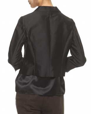 ブラック シルク混シャンタンテーラードジャケット見る