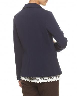 ネイビー ダブルブレストリブ編み ニットテーラードジャケット見る