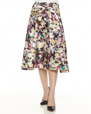 ブルー  シャンタンモザイクflowerスカート見る
