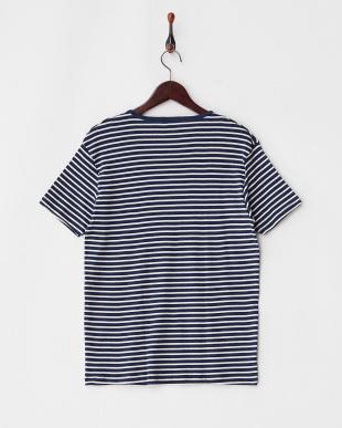 ネイビー(ボーダー)  エコテックス VネックTシャツ見る