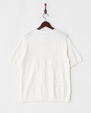 ホワイト  ランダムボーダーニットTシャツ見る