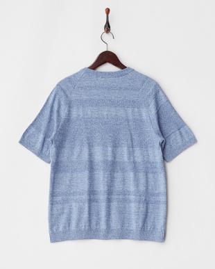 ブルー  ランダムボーダーニットTシャツ見る