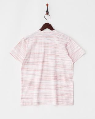 ピンク  ボーダーVネックTシャツ見る