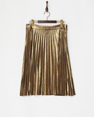 ゴールド メタリックプリーツスカート見る