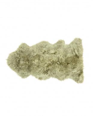 ブラウン/カップチーノ スプリングラム ムートン長毛ラグ1.5匹 約60×120cm見る