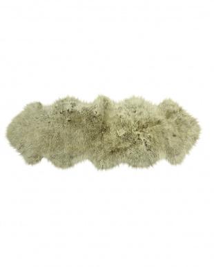 ブラウン/カップチーノ  スプリングラム ムートン長毛ラグ2匹 約60×170cm見る