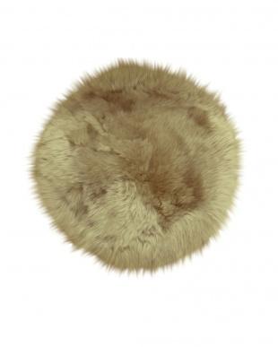ブラウン  ムートンシートクッション 円形約60cm見る