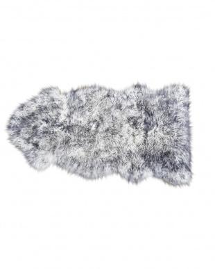 ブラック/ブラックティップ スプリングラム ムートン長毛ラグ1.5匹 約60×120cm 見る
