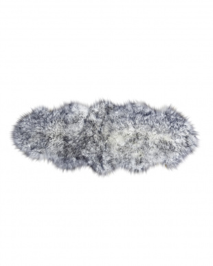 ブラック/ブラックティップ スプリングラム ムートン長毛ラグ2匹 約60×170cm見る