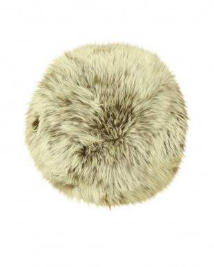 ブラウン/カップチーノ  ムートンシートクッション 円形約40cm見る