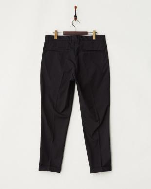 ブラック  裾ダブル ストレッチ入りコットンパンツ|MEN見る