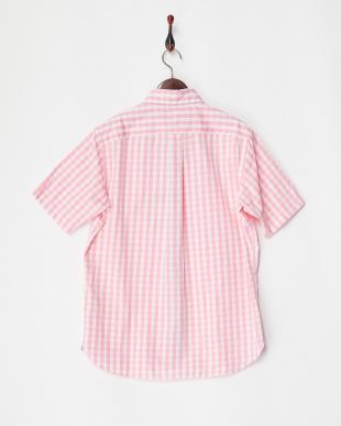 ピンク  ギンガムチェック 半袖ボタンダウンシャツ|MEN見る