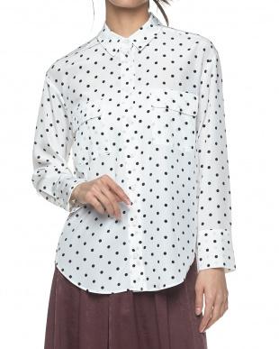 WHITE×BLACK(ドット)  デシンプリント胸ポケットオーバーシャツ見る