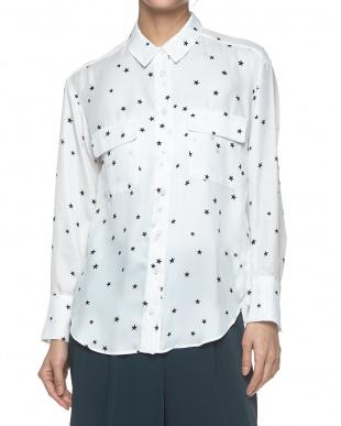 NAVY×WHITE  スタープリント胸ポケットオーバーシャツ見る