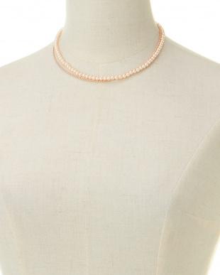 ピンクゴールドカラー  Pearly 2連ネックレス見る