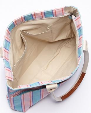 ピンク チェック柄帆布トートバッグ見る