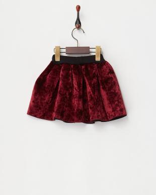 ボルドー  ダイバー素材フレアスカート見る