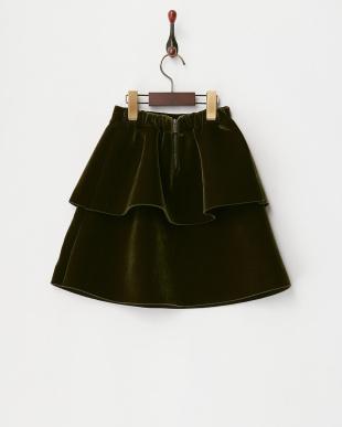 カーキ  ベロア2段スカート見る