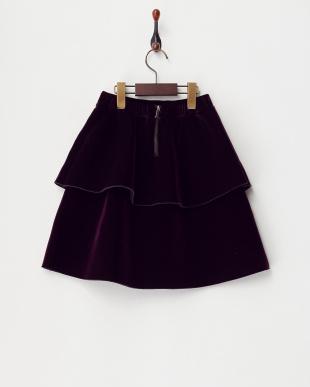 パープル  ベロア2段スカート見る