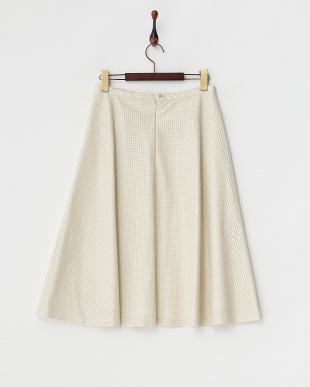 アイボリー  パンチングフェイクレザースカート見る