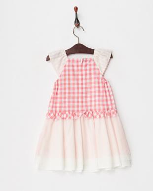 ピンク  ギンガム切替ジャンパースカート見る