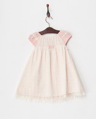 ピンク  チューリッププリントジャンパースカート見る