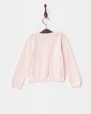 ピンク  リボン装飾 綿ニットカーディガン見る