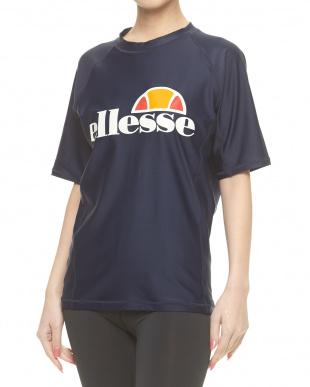 ホワイト×ネイビーブルー  サイドラインラッシュTシャツ|MEN見る
