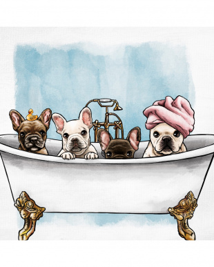 Frenchies In The Tub 83.8×83.8cm見る