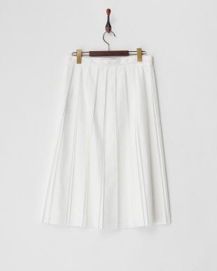 ホワイト ダブルプリーツスカート見る