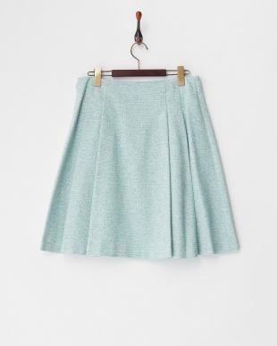 グリーン系  サイドタックツイード調スカート見る