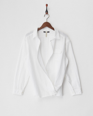 ホワイト  コットンリネン2WAYシャツ見る