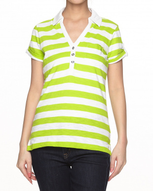 LIME GREEN  ボーダー Polo KNIT見る