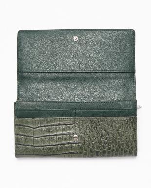 グリーン  カイマンワニ革&牛革クロコ型押しかぶせ式長財布見る