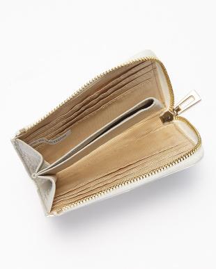 パールホワイト  クロコダイル L字ファスナーコンパクト財布見る