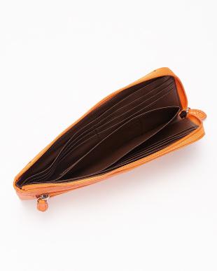 オレンジ  オーストリッチ L字ファスナー長財布見る