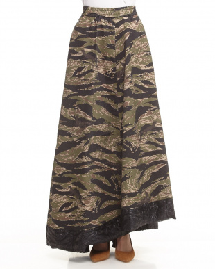 MILITARY CAMOUFLAGE ロングフレアスカート見る