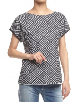 BLACK&WHITE 幾何学スウェットシャツ見る