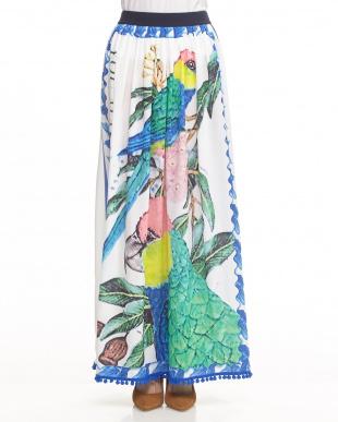 WHITE/MULTICOLOR PRINT 裾ポンポン付きロングスカート見る