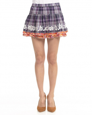 CHECK LILAC-DARK VIOLET 花刺繍ティアードスカート見る