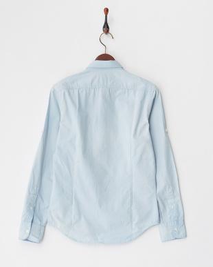 ライトブルー  胸ポケット付きドビーシャツ見る