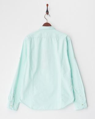 ライトグリーン  胸ポケット付きドビーシャツ見る