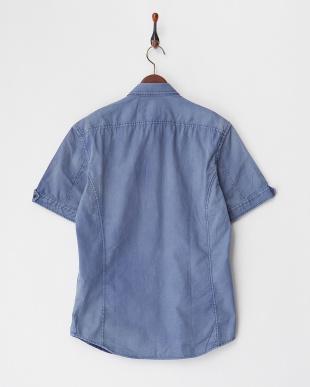 ブルー  半袖ドビーシャツ見る
