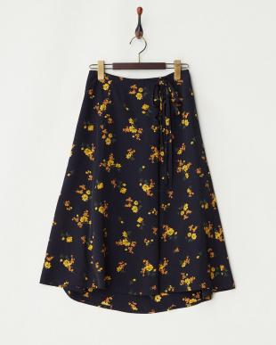 NAVY  デシン花柄Wリボンスカート見る
