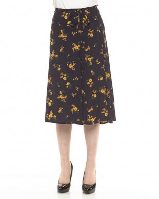 BROWN  デシン花柄Wリボンスカート見る
