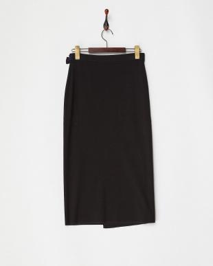 ブラック  コンビカラーニットスカート見る