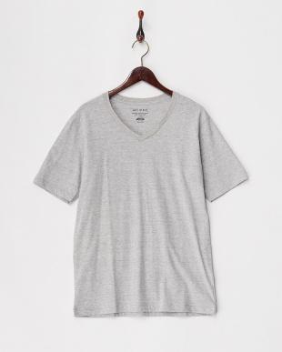 グレー  カリフォルニアコットンVネックTシャツ見る