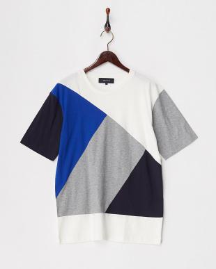 ホワイト  ランダムパッチワークTシャツ見る
